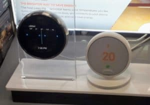 Two Google Nest thermostats in store, the Learning Thermostat 3rd Gen and Thermostat E.