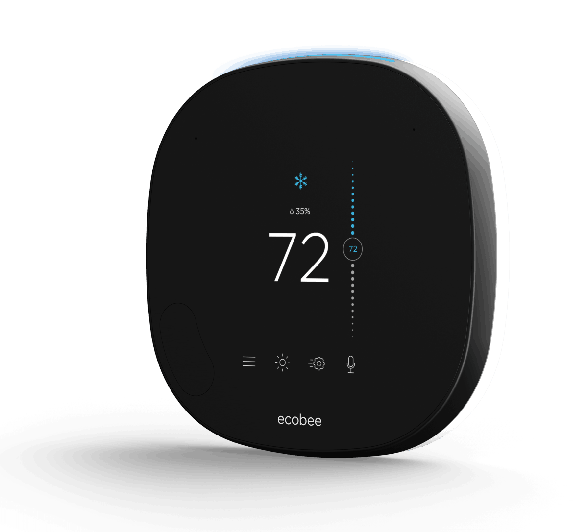 A marketing image of the 2019 ecobee SmartThermostat black model with the temperature being displayed on screen.