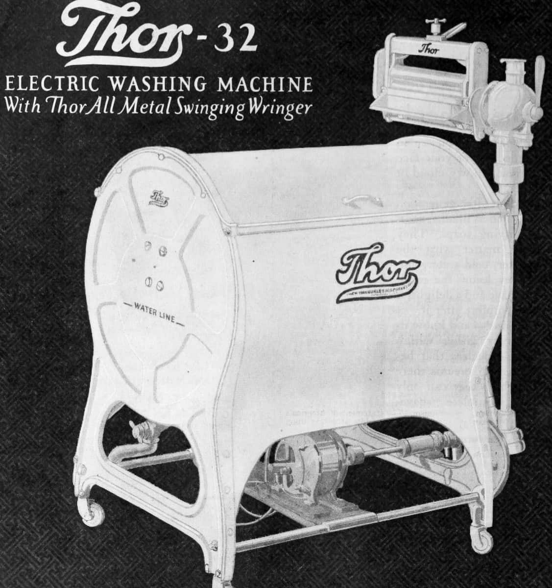 "Part of the advert poster for the Thor-32, an ""electric washing machine with Thor All Metal Swining Wringer"". The washing machine is pictured, with some cables and a motor visible at the bottom."