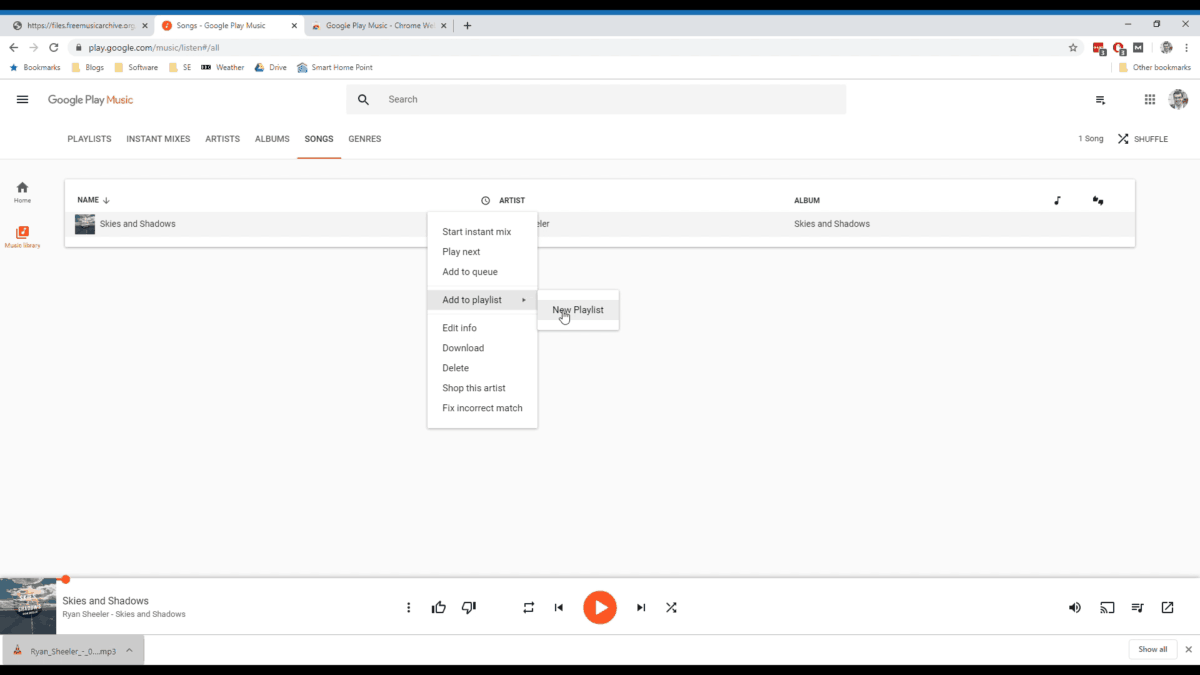 A website screenshot showing how to add a song to a playlist within Google Play Music