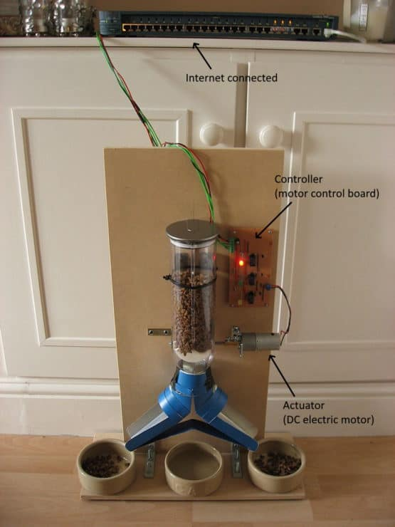 A smart home automation device - a cat feeder with a controller, actuator and is internet connected.