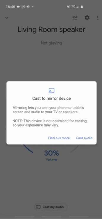 Screenshot of a phone screen, showing the message which gets displayed when 'Cast my audio' is clicked.