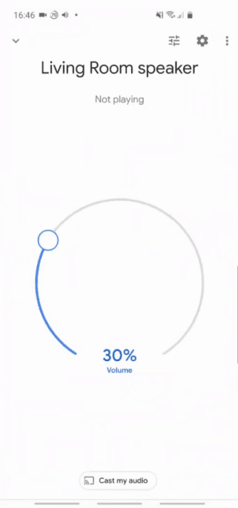 Screenshot of a phone screen, showing a Google Mini device and volume set at 30%.