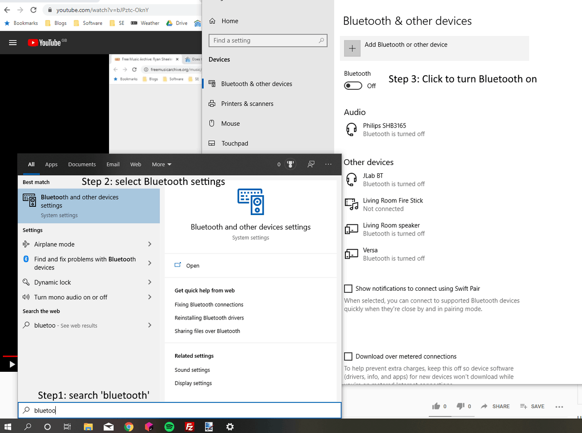 Screenshot of a Windows 10 laptop, showing how to access - and turn on - Bluetooth.