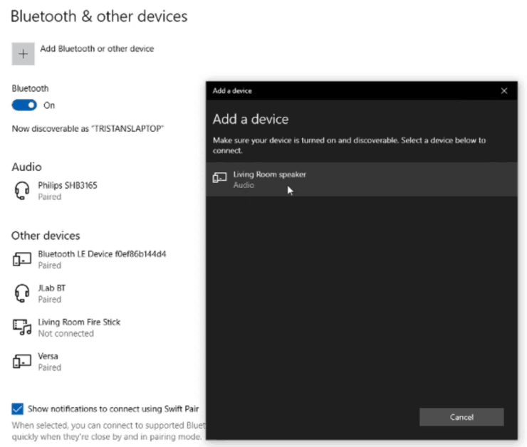 Screenshot of a Windows 10 laptop, showing how to pair a new Bluetooth device with your laptop.