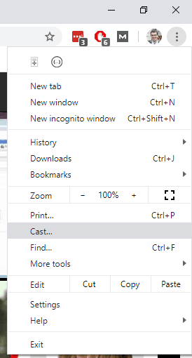 Screenshot of a Windows 10 laptop, showing the 'Cast...' option within Google Chrome.