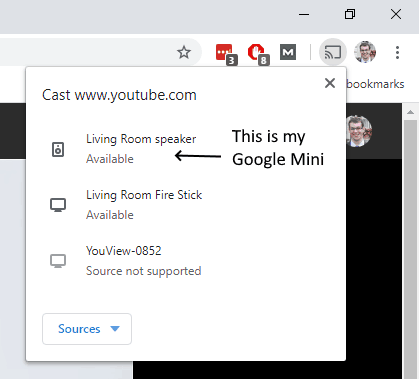 """Screenshot of a Windows 10 laptop, showing the available casting options after you click on 'Cast...'. """"Living Room speaker"""" is my Google Mini device."""