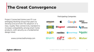 """Zigbee Alliance Connected Home over IP webinar screenshot, showing how multiple leading smart home providers have """"converged"""" to help make this standard."""