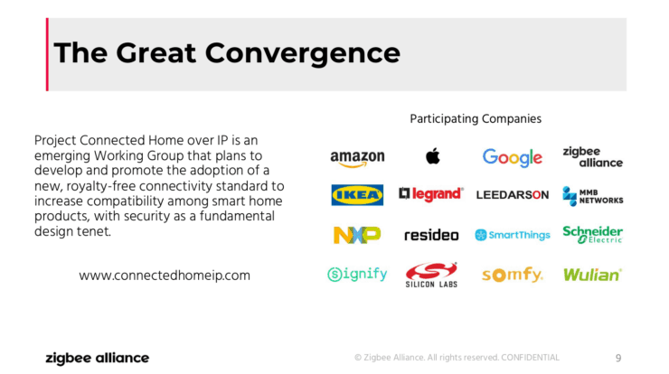 "Zigbee Alliance Connected Home over IP webinar screenshot, showing how multiple leading smart home providers have ""converged"" to help make this standard."