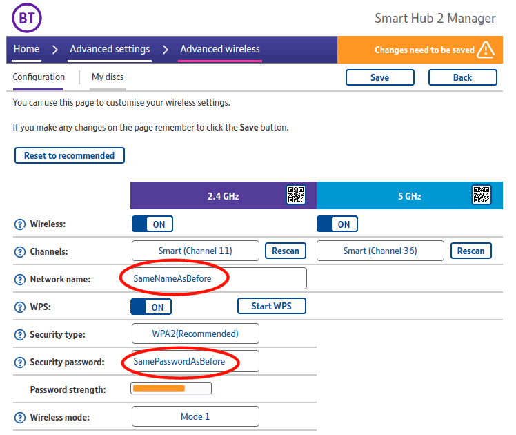 A screenshot of the BT Smart Hub 2 (internet router) wireless configuration page, showing which details to change.