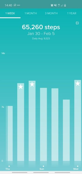Fitbit steps per day - with 3 days hitting the 10k mark, and 4 being below this.