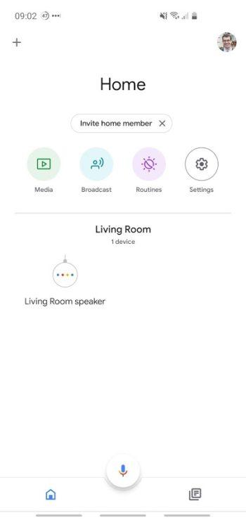 Screenshot of Google Home app homepage