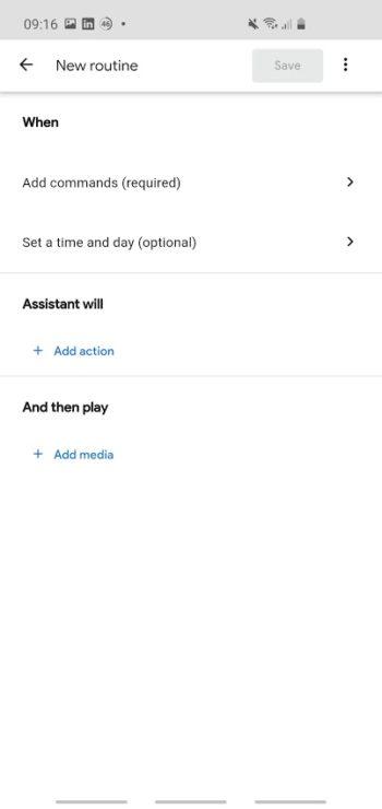 Screenshot of Google Home app 'create routine'