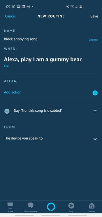 Screenshot of Amazon Alexa app 'final routine' (before saving it)