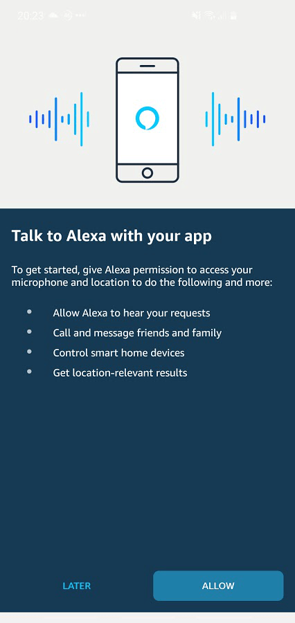 Screenshot of Amazon app, after clicking the central 'talk' button.