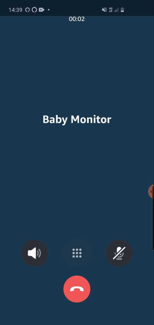 Screenshot from the Alexa app, showing a voice call to an Echo device (named 'Baby Monitor'), initiated via the drop-in feature.