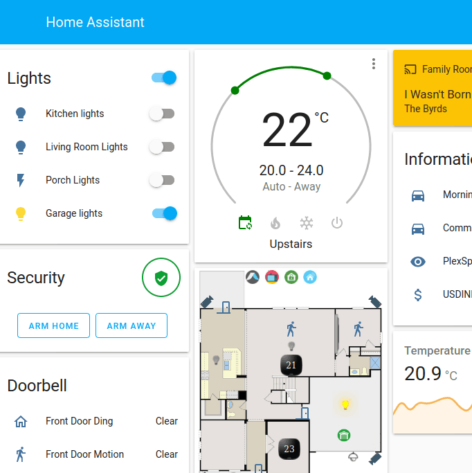 Screenshot taken of the desktop view of Home Assistant's demo.