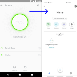 The Nest app on the left, and the Google Home app on the right.
