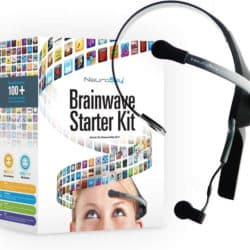 Marketing image of NeuroSky's Brainwave Starter Kit, including the headset and details about the mobile and computer control apps.