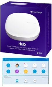 SmartThings 3rd Generation Home Hub box and SmartThings phone app