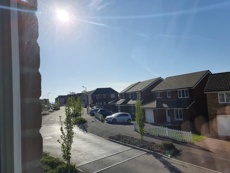 The location of the sun in the sky at 9:04am