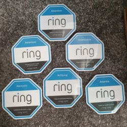 Ring 'audio & video recording' warning stickers in different languages - English, French, German, Spanish and others.