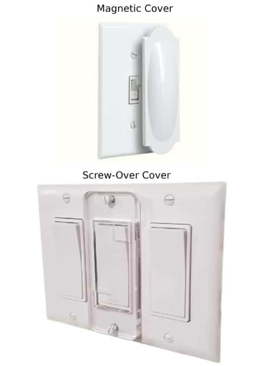 Two examples of light switch covers. The top is a simple magnetic cover to prevent accidental misuse, whilst the bottom is a screw-in cover to prevent accidental and intentional misuse.