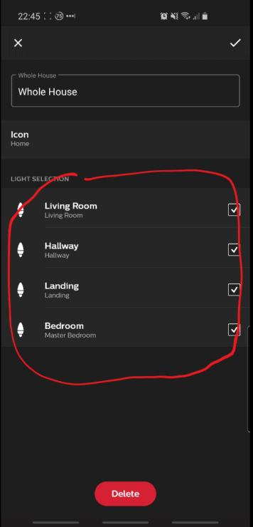 "Hue app screenshot showing my four bulbs named ""Living Room"", ""Hallway"", ""Landing"" and ""Bedroom""."
