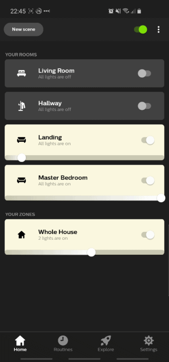 "Screenshot from the Hue app, showing my four room names: ""Living Room"", ""Landing"", ""Hallway"" and ""Master Bedroom""."