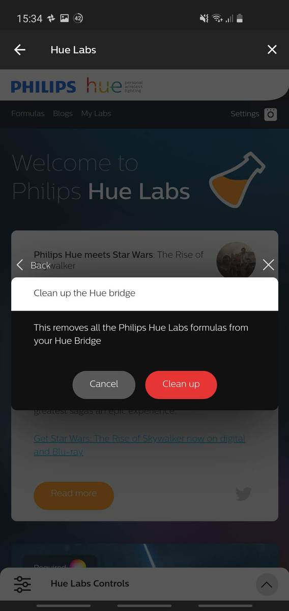 Hue app screenshot showing the 'Cleanup Hue Bridge' option from Hue Labs.