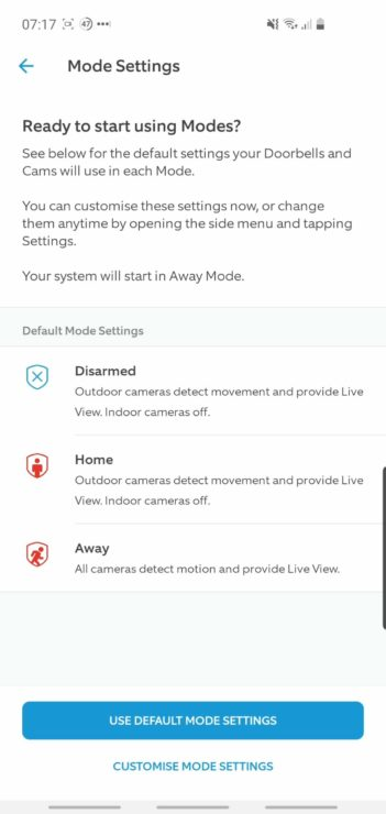Ring app screenshot showing the new 'Modes' feature, released in 2020.