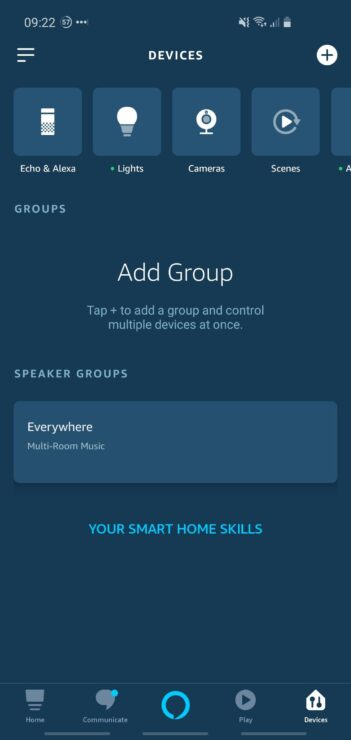 Phone screenshot showing the Alexa app's speaker groups, under the 'Devices' tab.