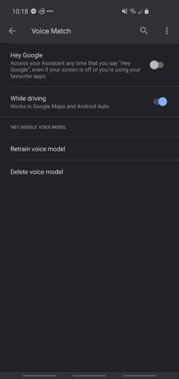 "Phone screenshot showing the ""Hey Google"" voice activation for Google Assistant."