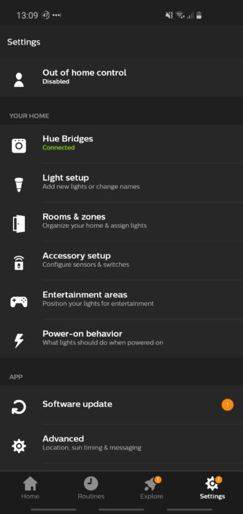 A phone screenshot from the Hue app, showing that 'Out of home control' is currently disabled.