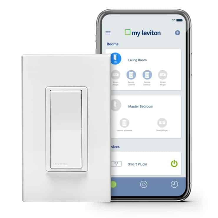 Marketing image for the Leviton Decora Smart WiFi 15 Amp Light Switch
