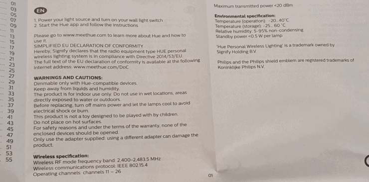 """""""Warnings and cautions"""" from a Philips Hue bulb booklet."""
