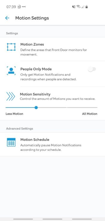 "Ring app screenshot showing the ""People Only Mode"" option of a hardwired Ring device."