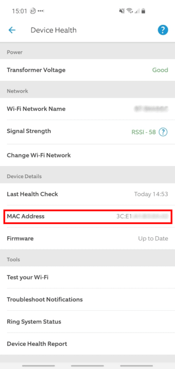 Phone screenshot from the Ring app, showing the MAC Address under 'Device Health'.