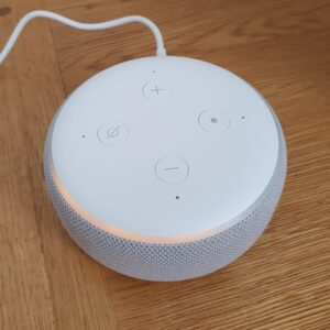 A new Echo Dot (sandstone color) in setup mode with an orange ring going around it.