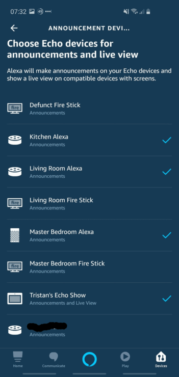 Phone screenshot of the Alexa app, showing various Echo devices which are (and aren't) selected for Ring Doorbell announcement sounds.