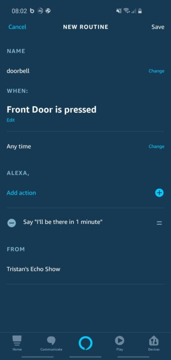 Phone screenshot of the Alexa app, showing how you can create a custom routine to handle doorbell presses in a unique way.