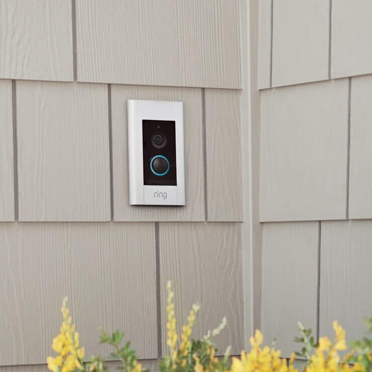 The power over Ethernet Ring Doorbell Elite, mounted on a wall.