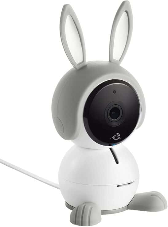 Marketing image of the Arlo Baby Camera with bunny ears and feet.