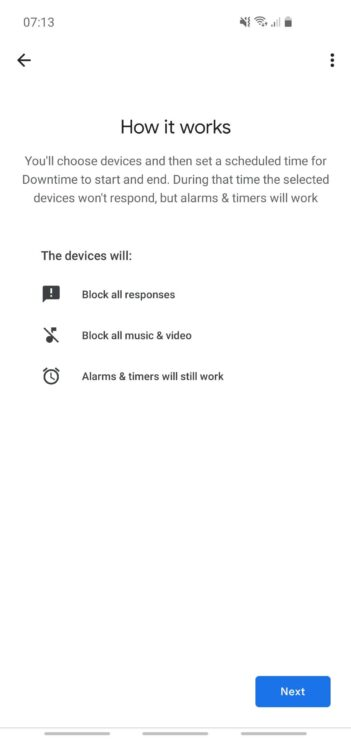 """A phone screenshot from my Google Home app's """"Downtime"""" feature, explaining what it does (including that alarms and timers will still be heard)."""
