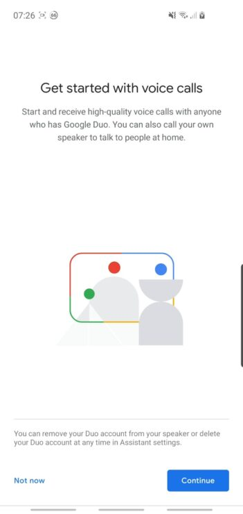 Phone screenshot showing the 'what is Duo' page on the Google Home app.