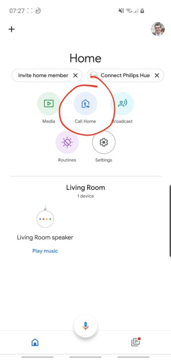 """Phone screenshot showing the """"Call Home"""" button, available after setting up Google Duo through the Google Home app."""