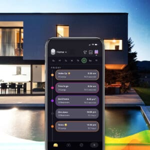 """Marketing image of the LIFX app's """"Schedules"""" page, with a 3D rendered house in the background."""