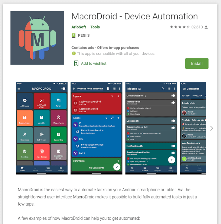 Screenshot of the MacroDroid app on the Google Play store.