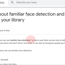 Nest help pages - familiar face detection