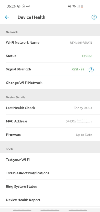 The WiFi health on the 'Device Health' page of my Ring app (for my Ring Indoor Cam).